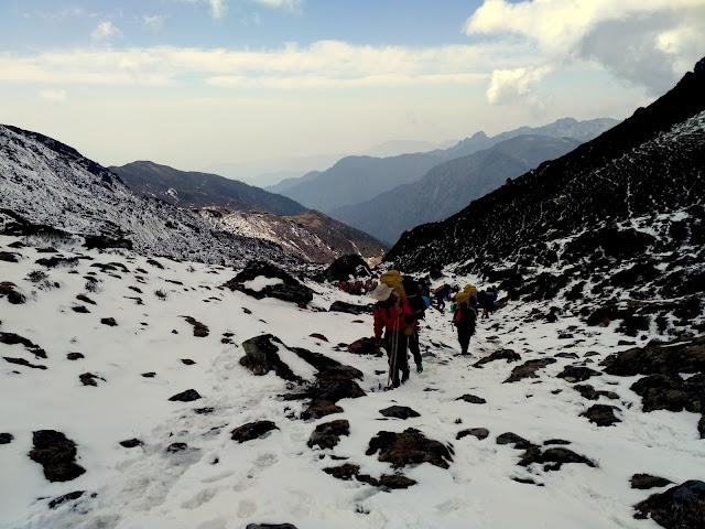 Trainees approaching towards Dzongri Pass