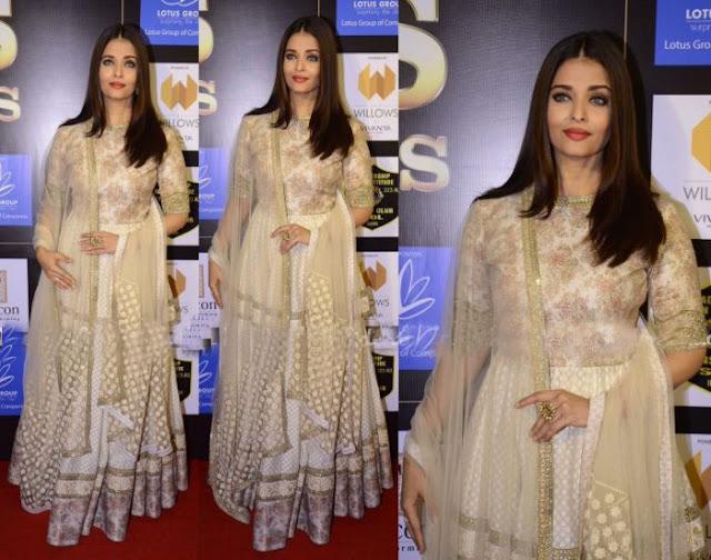 Aishwarya Rai Bachchan in Cream and Gold Embroidered Sabyasachi Anarkali Suit