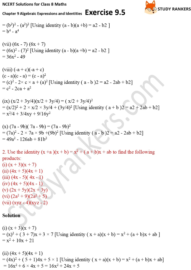 NCERT Solutions for Class 8 Maths Ch 9 Algebraic Expressions and Identities Exercise 9.5 2