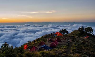 Here base-camp Plawangan Sembalun crater rim altitude 2639 meters mount Rinjani