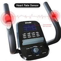SNODE E20i Elliptical Trainer's Console & pulse heart-rate sensors in static handlebars, image