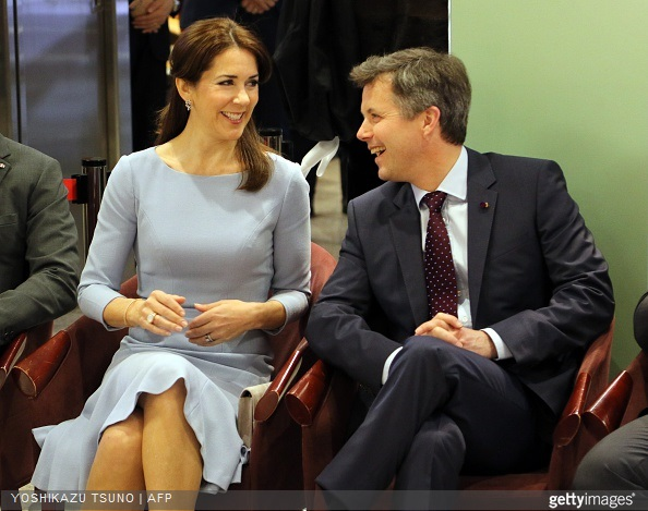 Danish Crown Prince Frederik and Crown Princess Mary watch a seal skin fashion show by Danish designer Jesper Hovring at a department store in Tokyo