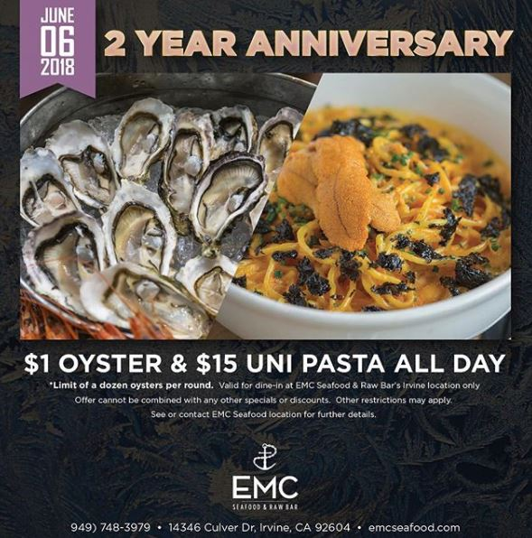 June 6 | Enjoy $1 Oysters and $15 Uni Pasta All Day @ EMC Seafood - Irvine