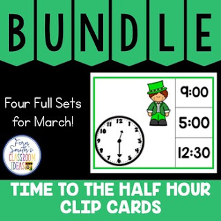 Time to the Hour and Half Hour Clip Cards March Bundle