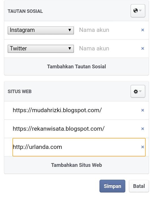 Cara memasang alamat situs atau link blog di facebook