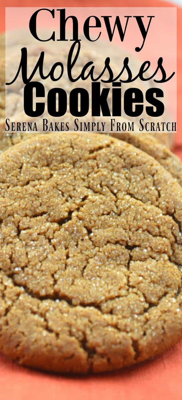 Chewy Molasses Cookies recipe with cinnamon, cloves, and ginger are a favorite Christmas Cookie recipe from Serena Bakes Simply From Scratch.