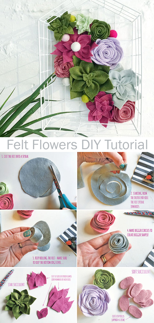 DIY Felt Succulents. Felt Flowers Tutorial