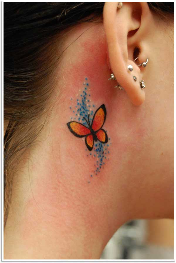 ear under butterfly tattoo