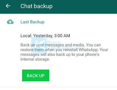 Khusus cara yang satu ini menurut saya adalah cara yang bisa digunakan apabila Anda bingung dengan cara yang lain. Kita tahu bahwa WhatsApp menyediakan fitur pencadangan file chat yang bisa disimpan ke memori HP lalu bisa dikirimkan ke email gmail agar filenya tidak hilang.