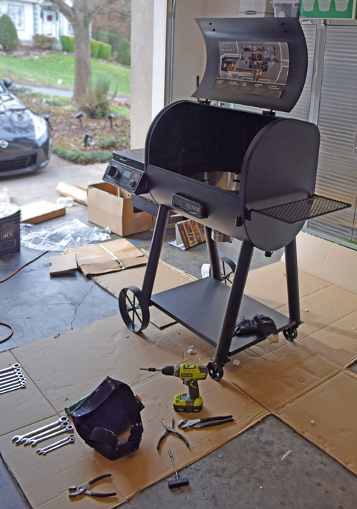 Assembling the Oklahoma Joe's Rider DLX Pellet Grill was relatively easy and quick - 1 hour.