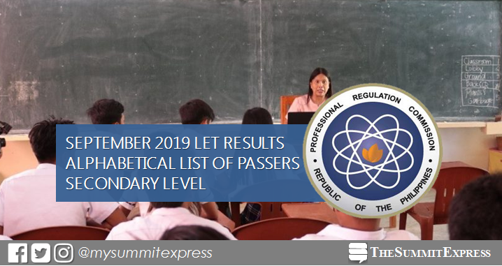 September 2019 LET Result Secondary level list of passers