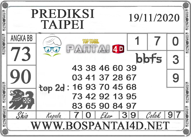 PREDIKSI TOGEL TAIPEI PANTAI4D 19  NOVEMBER 2020