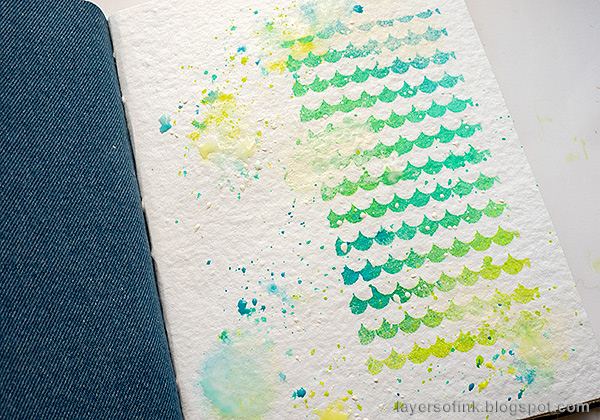 Layers of ink - Sprays and Splashes Art Journal Page by Anna-Karin Evaldsson.
