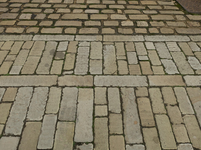 Stone cobbles in different patterns. Halifax, West Yorkshire. June 27th 2020.