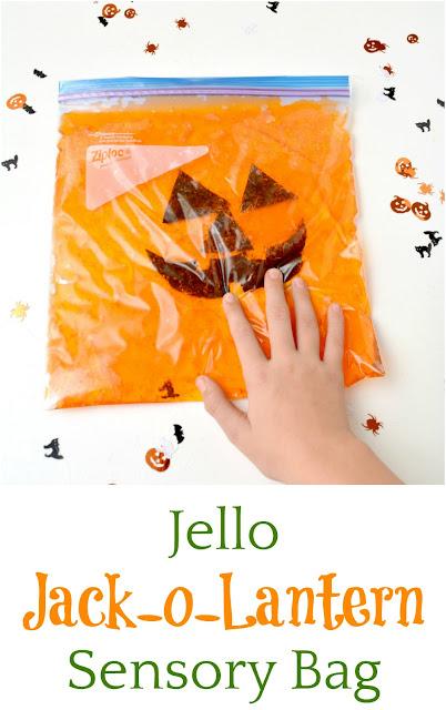 Jello Jack-o-Lantern sensory bag