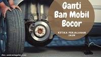Mengganti Ban Mobil Yang Bocor di Pinggir Jalan