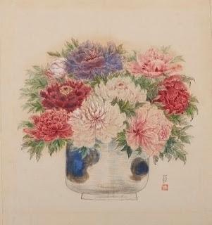 椿貞雄 牡丹 絹本に水彩、墨、鉛筆