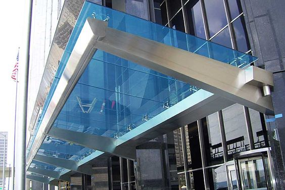 STAINLESS GLASS AWNING SYSTEM  NEW YORK