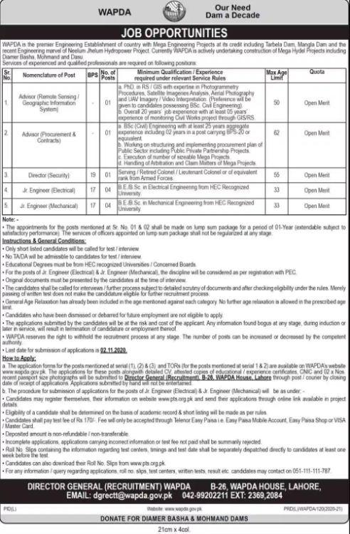 Wapda Latest Jobs 2020 | wapda.gov.pk