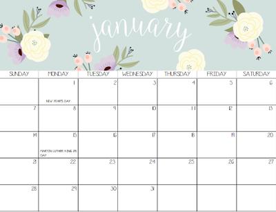 free 2018 calendars to print
