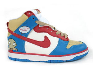 timeless design d7ec3 d19df Cartoon Nike Family Guy High Tops Dunk What The Deuce Stewie Griffin  Sneakers Cheap Sale