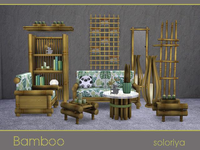 Bamboo Бамбуково для The Sims 4 Бамбуковый набор мебели для вашей гостиной. Включает 15 объектов, имеет 3 цветовых вариации. Предметы в наборе: - кресло - двойной диван - подушка на сиденье - книжный шкаф - зеркало - напольный свет - полка - 2 журнальных столика - перегородка - настенный деко - чайный мини-набор - 2 растения - коала. Автор: soloriya