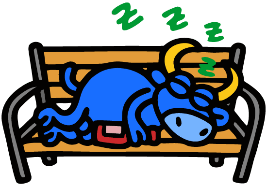 Toro de San Fermín durmiendo la mona