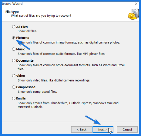 Select Pictures as File Type