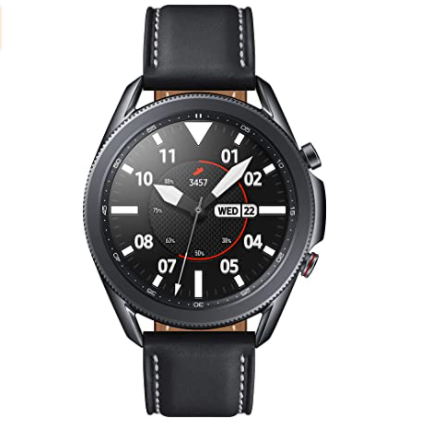 $141.35 BUY  SAMSUNG Galaxy Watch 3 (45mm, GPS, Bluetooth, Unlocked LTE) Smart Watch with Advanced Health Monitoring, Fitness Tracking, and Long Lasting Battery - Mystic Black (US Version)  SAMSUNG Galaxy Watch 3 (45mm, GPS, Bluetooth, Unlocked LTE) Smart Watch with Advanced Health Monitoring, Fitness Tracking, and Long Lasting Battery - Mystic Black (US Version) price  Supported Application Phone, GPS, Camera, Heart Rate Monitor Brand SAMSUNG Wireless Communication Standard Bluetooth Color Black Connectivity Technology Bluetooth, Cellular, Wi-Fi, NFC, GPS Band Color Black Human Interface Input Touchscreen, Buttons Screen Size 45 Water Resistance Level Waterproof Band Material Type Faux Leather   About this item STYLE YOU CAN COUNT ON: Galaxy Watch3 combines style—two sizes, two finishes, three colors and, 50,000 plus watch faces-with military-grade durability and water resistance LEAVE YOUR PHONE BEHIND: Leave your phone at home. Galaxy Watch3 gives you the freedom to call, text, stream music and get notifications via LTE connectivity You can share the PDF report of your ECG recording with your health care provider using the Samsung Health Monitor app on your compatible Galaxy phone BATTERY BUILT FOR ENDURANCE: The Galaxy Watch3's long-lasting battery can go for more than a day on a single charge, and you can always get a quick boost from your compatible Galaxy phone with Wireless Power Share STRONGER INSIGHTS. NEXT-LEVEL FITNESS: Spend your time moving while Galaxy Watch3 tracks seven popular activities automatically. Get more out of each movement thanks to built-in run coaching LEVEL UP YOUR DOWNTIME: Galaxy Watch3's automatic sleep tracker offers insights on how to get a better night's sleep. It also monitors your stress level and helps you recenter with breathing guides SMART WATCH. SMART LIFE: Integrated Bixby voice functionality can read your texts, make a call or initiate coaching on command and on the go. Samsung Pay lets you leave home without a wallet. An