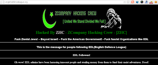 English Defence League defaced by ZCompany Hacking Crew
