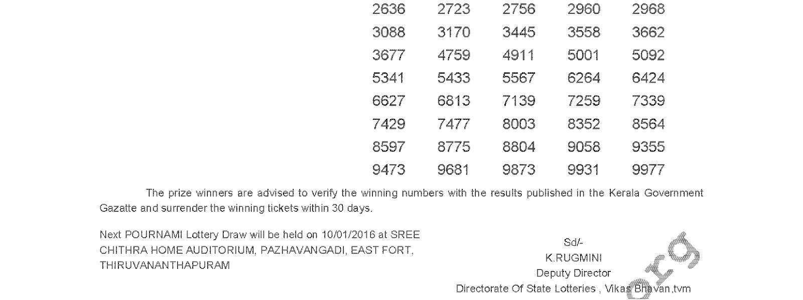 POURNAMI Lottery RN 218 Result 3-1-2016