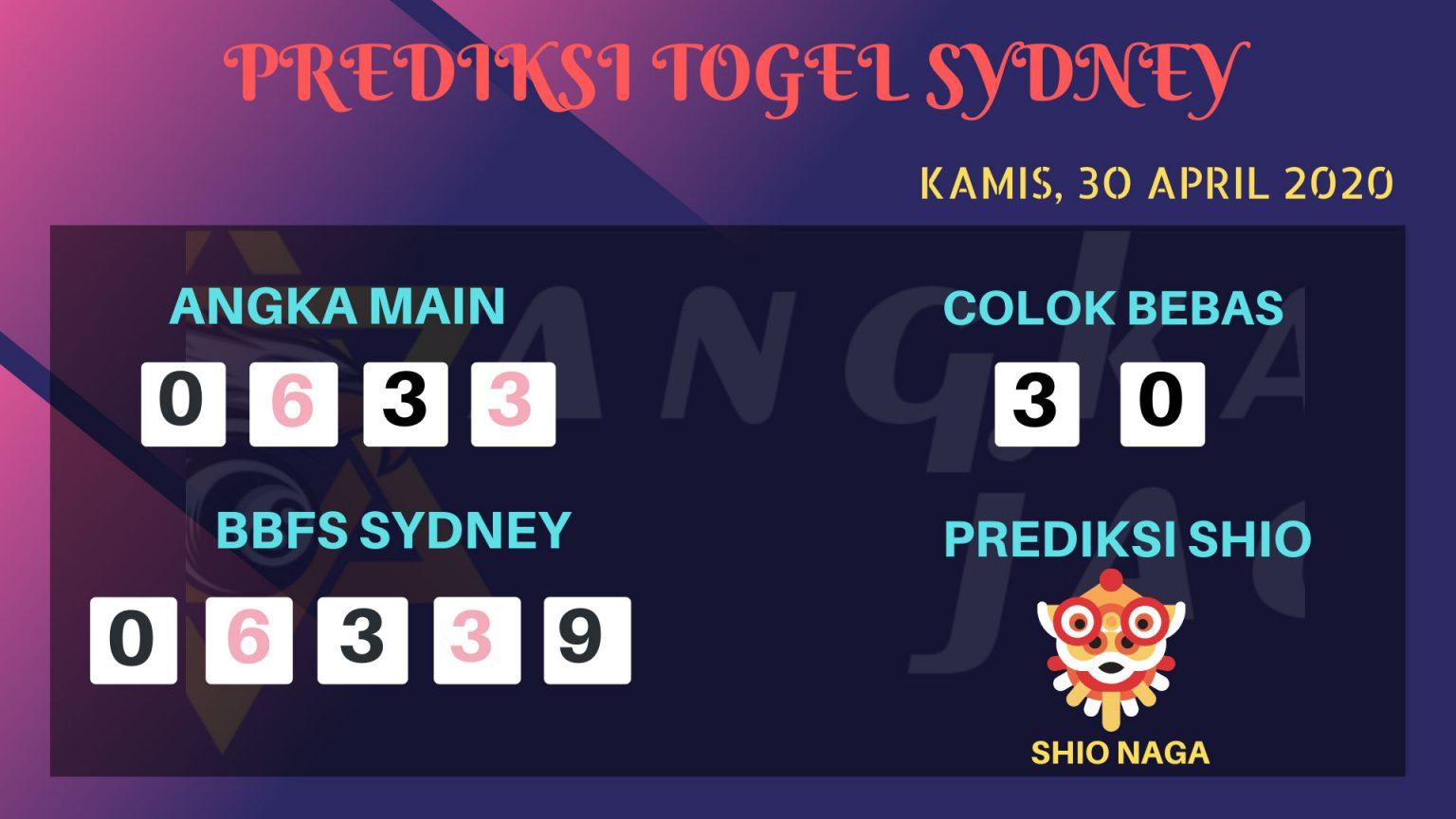 Prediksi Togel Sydney 30 April 2020 - Prediksi Angka Sydney