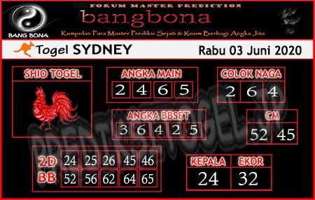 Prediksi Sydney Rabu 03 Juni 2020 - Bang Bona
