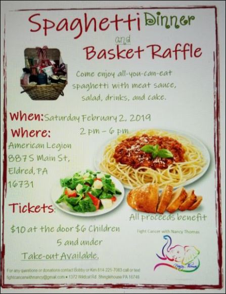 2-2 Spaghetti Dinner & Basket Raffle for Nancy Thomas