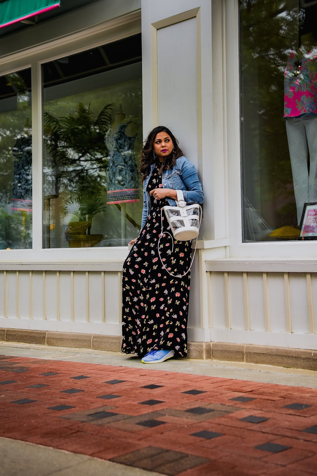 rent the runway maxi dress, denim jacket, sneakers with dress, ootd, street style, fashion, style, myriad musings, saumya shiohare .