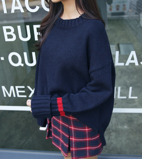 Folded Cuffs Knit Pullover