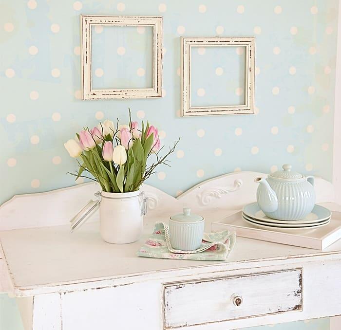Fototapeten als farbige eyecatcher white vintage deko blog for Farbige wohnzimmerwand