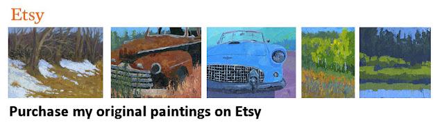 art original paintings landscape truck car tractor