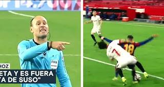 Mateu Lahoz words explainingi not awarding penalty on Alba to Barca players in Sevilla loss revealed.