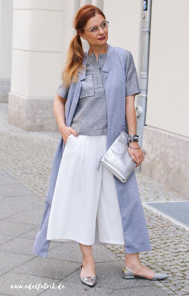 die Edelfabrik, Look, weiße Culottes, Metallic-Trend