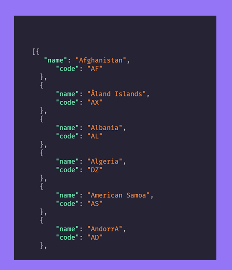 List of all country in JSON format