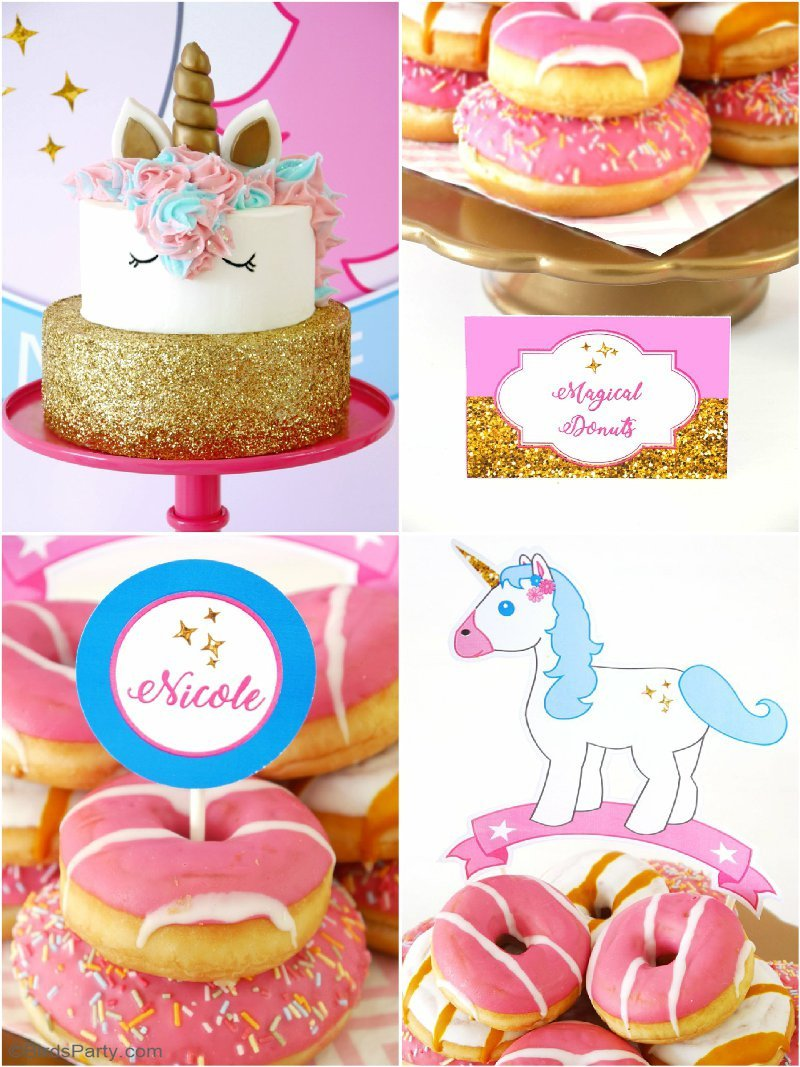 A Unicorn Birthday Slumber Party - with DIY decorations ideas, party printables, food, easy party favors and fun for a girl party or celebration! by BirdsParty.com @BirdsParty