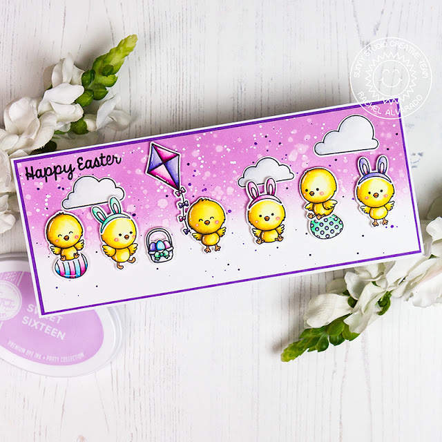 Sunny Studio Stamps: Chickie Baby Spring Showers Chubby Bunny Easter Card by Rachel Alvarado