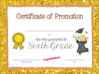 classroom Certificate of Promotion to Sixth Grade