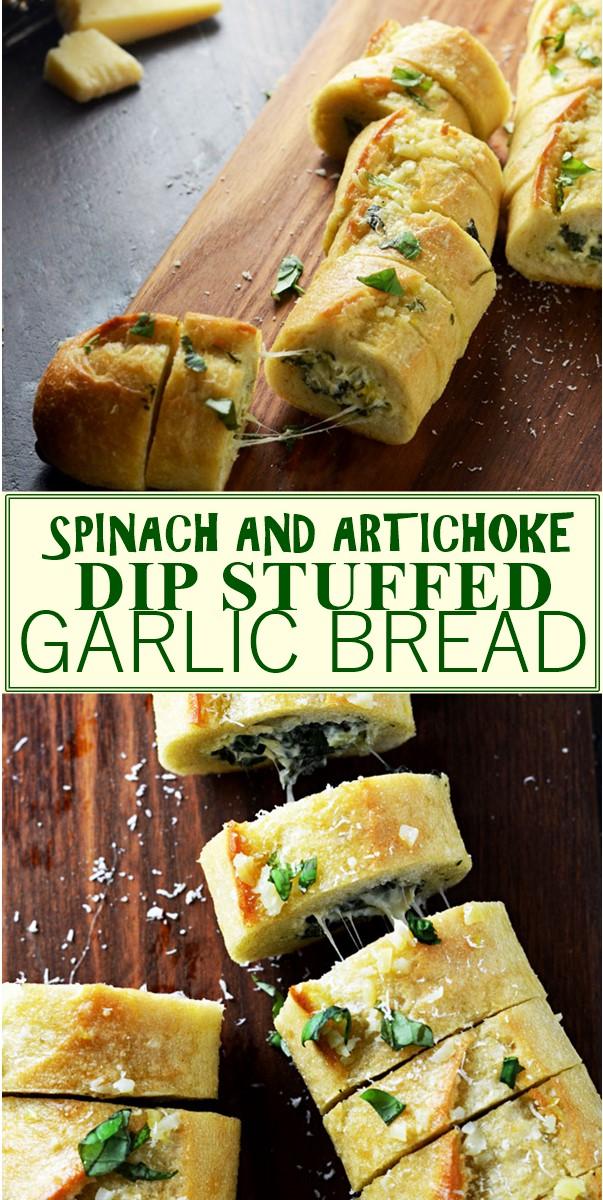 SPINACH AND ARTICHOKE DIP STUFFED GARLIC BREAD #Appetizerrecipes