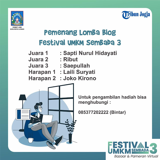 Juara 3 Blog Festival UMKM Sembada 3 Kab. Sleman