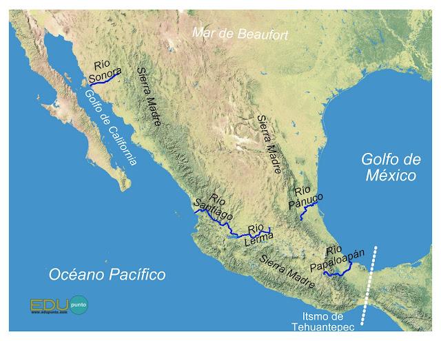 hidrografia, america del norte, norteamerica, rio, cuenca, AMERICA, sonora, papaloapan, golfo, itsmo, tehuantepec