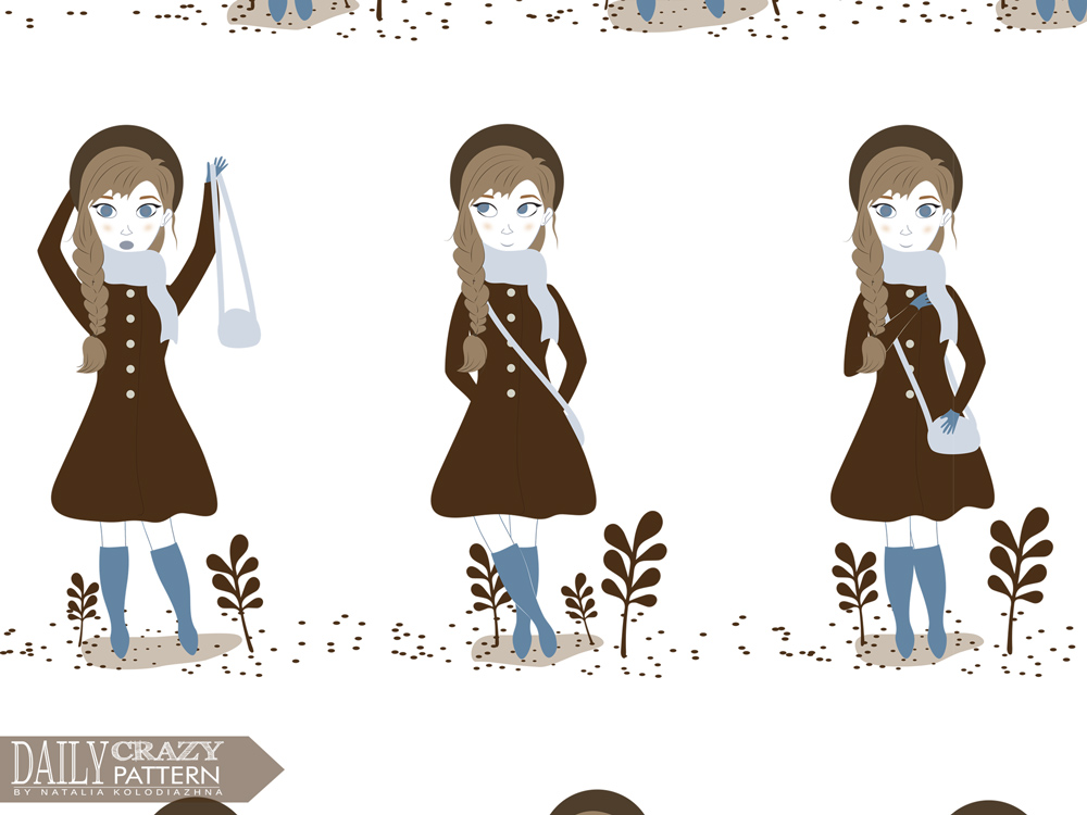 "Cute art print with female character for ""Daily Crazy Pattern"" project"