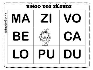 Atividades de alfabetização, jogos pedagógicos, Bingos, bingo de sílabas