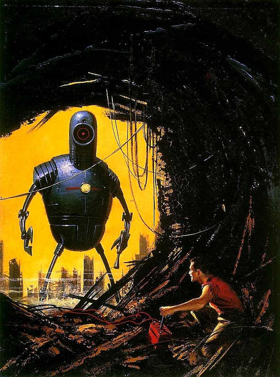 an Ed Valigursky illustration of a giant killer robot